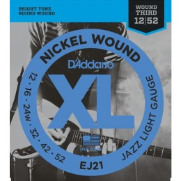 D'Addario EJ21 Nickel Wound Jazz Wound 3rd 12-52 Light