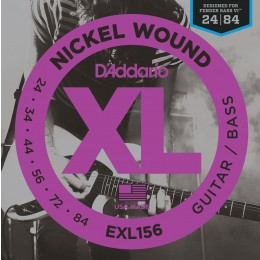 D'Addario EXL156 Nickel Wound, Fender Bass VI, 24-84 Strings