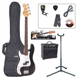 Encore E4 Left Handed Bass Guitar Package Black Main