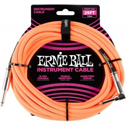 Ernie Ball 25 Foot Braided Straight/Angle Instrument Cable Neon Orange Front