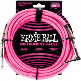 Ernie Ball 25 Foot Braided Straight/Angle Instrument Cable Neon Pink Front