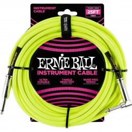 Ernie Ball 25 Foot Braided Straight/Angle Instrument Cable Neon Yellow Front