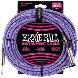 Ernie Ball 25 Foot Braided Straight/Angle Instrument Cable Purple Front