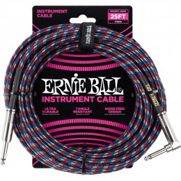 Ernie Ball 25 Foot Braided Straight/Angle Instrument Cable Red/Blue/White