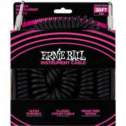 Ernie Ball Ultraflex 30 Foot Instrument Coil Cable Black Front