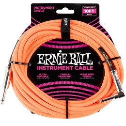 Ernie Ball 10 Foot Braided Straight Angle Instrument Cable Neon Orange Front
