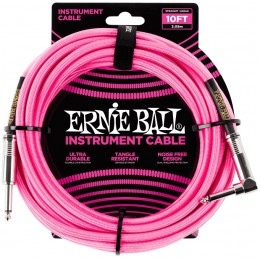 Ernie Ball 10 Foot Braided Straight/Angle Instrument Cable Neon Pink Front