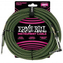 Ernie Ball 18 Foot Braided Straight/Angle Instrument Cable Black / Green Front