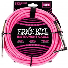 Ernie Ball 18 Foot Braided Straight/Angle Instrument Cable Neon Pink Front