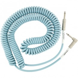 Fender Original Series Coil Cable Straight-Angle 30 Foot Daphne Blue Front