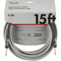 Fender Professional Series Instrument Cable 15 Foot White Tweed Front