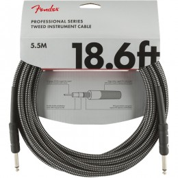 Fender Professional Series Instrument Cable 18.6 Foot Gray Tweed Front