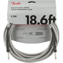 Fender Professional Series Instrument Cable 18.6 Foot White Tweed Front