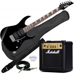 Ibanez GRG170DX Black Night Marshall MG10CF Pack