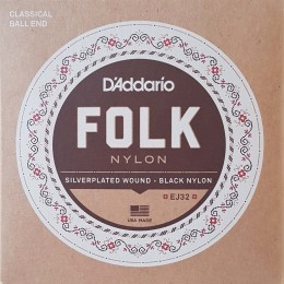 D'Addario EJ32 Folk Nylon, Ball End, Silver Wound/Black Nylon Trebles Front