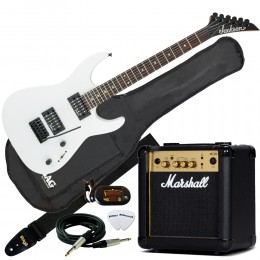 Jackson JS11 Dinky White with Marshall MG10CF Pack