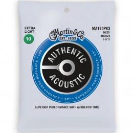 Martin MA170PK3 Authentic Acoustic SP 80/20 Bronze Extra Light 3-Pack