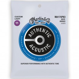 Martin MA175PK3 Authentic Acoustic SP 80/20 Bronze Custom Light 3-Pack