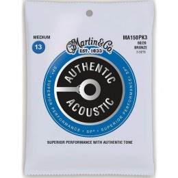 Martin MA150PK3 Authentic Acoustic SP 80/20 Bronze Medium 3-Pack