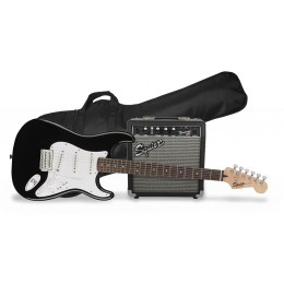 Squier-Stratocaster-Electric-Guitar-Pack-With-Amplifier-And-Gig-Bag-Black-Front