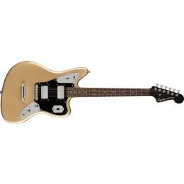 Squier Contemporary Jaguar HH ST Laurel Fingerboard Black Pickguard Shoreline Gold Front