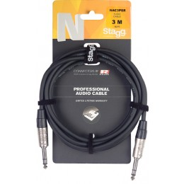 Stagg NAC3PSR 3m/10ft Stereo-Stereo TRS Audio Cable Packaging